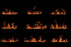 Wiederholen von Flammen auf Schwarzem Stockfotos