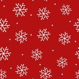 Wiederholte Schneeflocken eigenhändig gezeichnet und runder Punkt Neues Jahr seamle stock abbildung