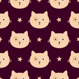 Wiederholte Sterne und Gesichter von Katzen Nettes nahtloses Muster Endloser Druck für Kinder stock abbildung