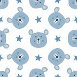 Wiederholte Sterne und Köpfe von lustigen Bären Nettes nahtloses Muster für Kinder lizenzfreie abbildung