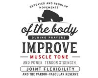 Wiederholte und regelmäßige Bewegungen des Körpers während der Gebete verbessern Muskeltonus und Energie vektor abbildung
