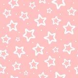 Wiederholte weiße runde Punkte und Entwürfe von Sternen auf rosa Hintergrund Nettes nahtloses Muster für Mädchen vektor abbildung