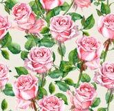 Wiederholtes Muster der Aquarellrosa-Rose Blumen Stockbild