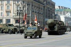Wiederholung der Parade zu Ehren Victory Days in Moskau Stockbild