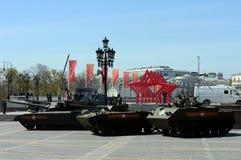 Wiederholung der Parade zu Ehren Victory Days in Moskau stockfoto