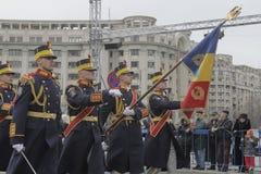 Wiederholung für rumänische Nationaltag-Parade Stockbilder