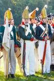 Wiederinkraftsetzung des Borodino Kampfes zwischen Russen Lizenzfreies Stockbild