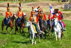 Wiederinkraftsetzung des Borodino Kampfes zwischen Russen Lizenzfreies Stockfoto
