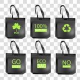 Wiederverwertung des editable Entwurfs der gr?nen Logosymbole auf schwarzen Taschen lizenzfreie abbildung
