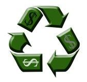 Wiederverwertung des Geldes Stockbild