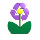 Wiederverwertung des Symbols auf Blume Stockfotos