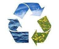 Wiederverwertung des Zeichens mit Bildern der Natur Lizenzfreies Stockfoto