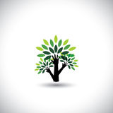 Wiederverwertung, eco Baumhand mit Blattvektor Stockfotografie