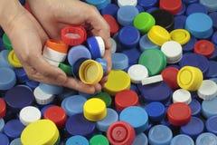 Wiederverwertung von Plastikkappen Stockfoto