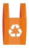 Wiederverwertung von symbool in einer roten Einkaufstasche vektor abbildung