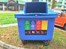 Wiederverwertungsbehälter - Singapur Lizenzfreie Stockbilder