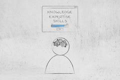 Wiedzy wiedzy specjalistycznej umiejętności ładuje wystrzał wiadomość nad osoba w ilustracja wektor