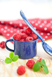 Świeże jagody w małej rocznik filiżance Zdjęcia Royalty Free