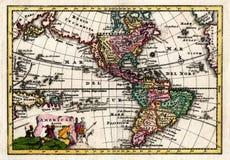 Wiegel-Karte 1730 des Nordens und des Südamerikas Stockfotos