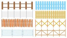 Wiejscy drewniani ogrodzenia, paliki wektorowi Biały sylwetki ogrodzenie dla royalty ilustracja