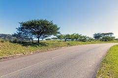 Wiejska Asfaltowa droga Wygina się Przez Wiejskiego krajobrazu Obraz Stock