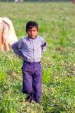 WIEJSKA chłopiec praca dzieci - wioski życie INDIA - obraz stock