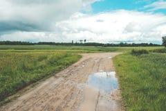 wiejska droga Wiejska droga przez rolniczych poly podczas dnia Obrazy Stock