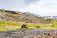 wiejska droga w Hveragerdi Gorącej wiosny Rzecznym śladzie Zdjęcie Stock