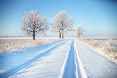 Wiejska droga w zima mrozie zdjęcie stock