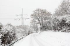 Wiejska droga w zimie Zdjęcie Royalty Free