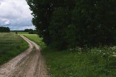 wiejska droga Wiejska droga przez rolniczych poly podczas dnia retro Obrazy Royalty Free