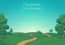 Wiejska krajobrazowa Wektorowa ilustracja Zielone łąki z sosnami, krzakami i drogą gruntową, Niebieskie niebo z chmurami i sunbea royalty ilustracja