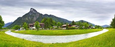 wiejska oberammergau krajobrazowa rzeka Obraz Stock