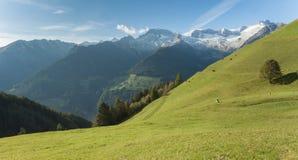 Wiejska scena od gospodarstwa rolnego wśród halnego paśnika w Ahrntal, Ita Zdjęcie Royalty Free