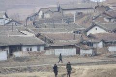 Wiejska scena w Północnym Korea DPRK Zdjęcie Stock