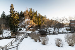 Wiejska sceneria w zimie Zdjęcia Stock