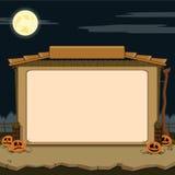 Wiejska stajnia. Próbka tekst. Halloweenowy temat royalty ilustracja