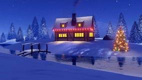 Wiejski dom dekorujący dla bożych narodzeń przy nocą royalty ilustracja
