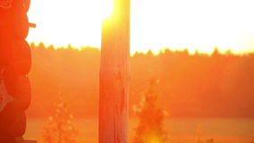 Wiejski dom w wioski pięknym sundawn Krajobrazowy ranku wschód słońca w wiosce zbiory wideo