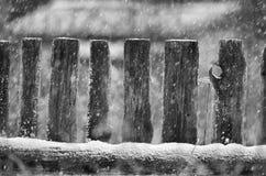 Wiejski drewniany ogrodzenie podczas opadu śniegu Zdjęcie Stock