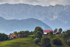 Wiejski góra krajobraz, Transylvania, Rumunia Zdjęcie Royalty Free