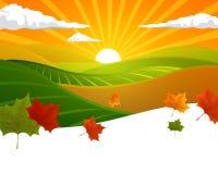 Wiejski jesień krajobraz ilustracji