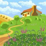 Wiejski krajobraz ilustracji