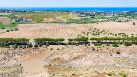 Wiejski krajobraz blisko Agrigento miasteczka w Sicily Obrazy Royalty Free