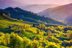 Wiejski krajobraz Carpathians w wiośnie Fotografia Stock