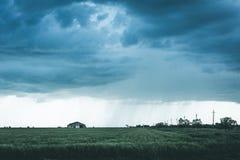 Wiejski krajobraz, deszcz nad pszenicznym polem, markotny skutek Obraz Stock