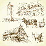 Wiejski krajobraz, rolnictwo Zdjęcia Stock