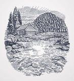 Wiejski krajobraz w grafika stylu z halną rzeką ilustracja wektor