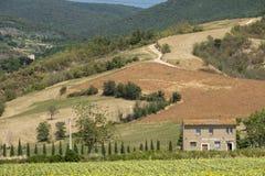 Wiejski krajobraz w val Teverina Umbria, Włochy Obraz Stock