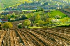 Wiejski krajobraz w wsi w Południowym Moravia Fotografia Stock
